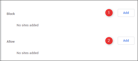 السماح بمنع جافا سكريبت وحظره على مواقع محددة