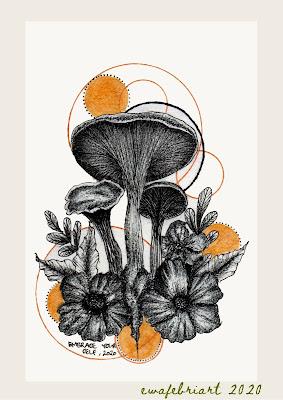 mushroom art embracing by ewafebriart