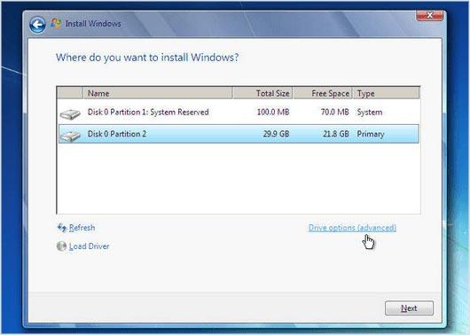 اختيار مكان تسطيب windows 7 للكمبيوتر