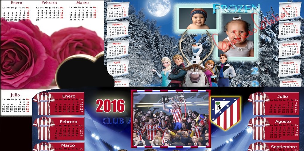 8 Calendarios 2016 plantillas psd