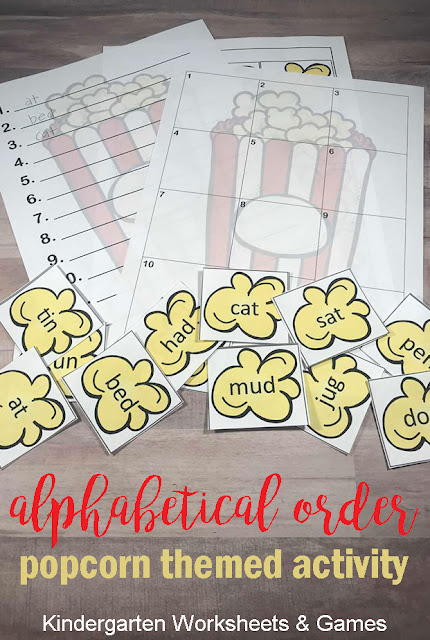 FREE Popcorn Alphabetical Order Activity - this fun, hands on alphabetizing activity includes worksheets and is such a fun printable to help kids practice this important skill. This makes such a fun center, extra practice, homeschool, and more for kindergarten, first grade, and 2nd grade students