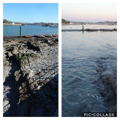Side by side pictures of a small boat pontoon on tidal river with tide in and out showing the difference