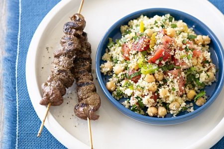 Beef kebabs, couscous and chickpea tabouli picture