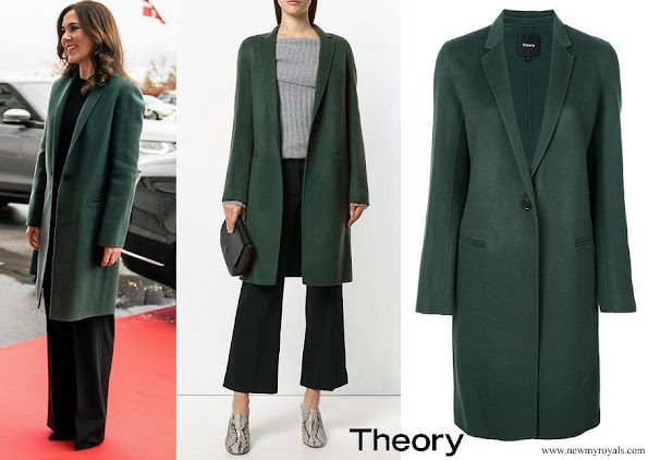 Crown Princess Mary wore Theory Green Wool and Cashmere Double faced Essential Coat