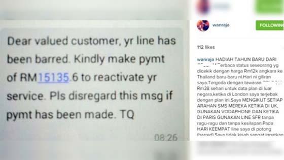 Wan Raja dakwa diperdaya syarikat telco, bil telefon cecah RM15 ribu