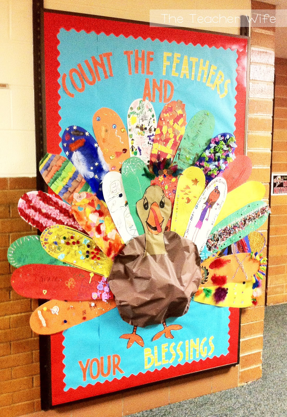 The teacher wife thanksgiving bulletin board for Turkey template for bulletin board