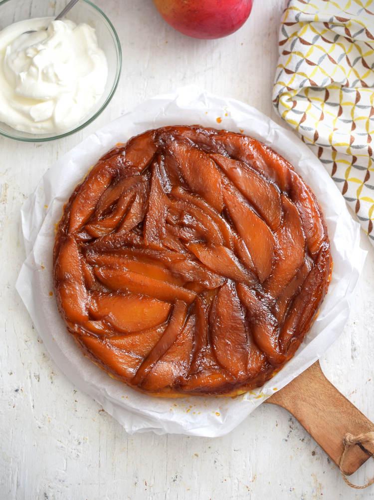 Tarta Tatin o tarta invertida con mango