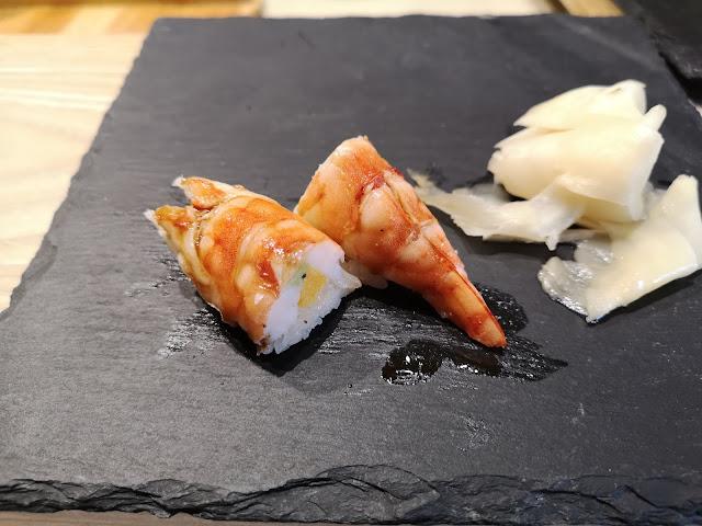 Kuruma Ebi (Tiger Prawn) stuffed with Egg