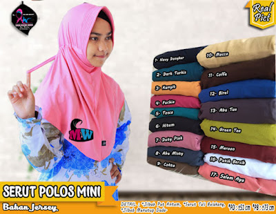 Jilbab serut polos bahan jersey model instant harga murah