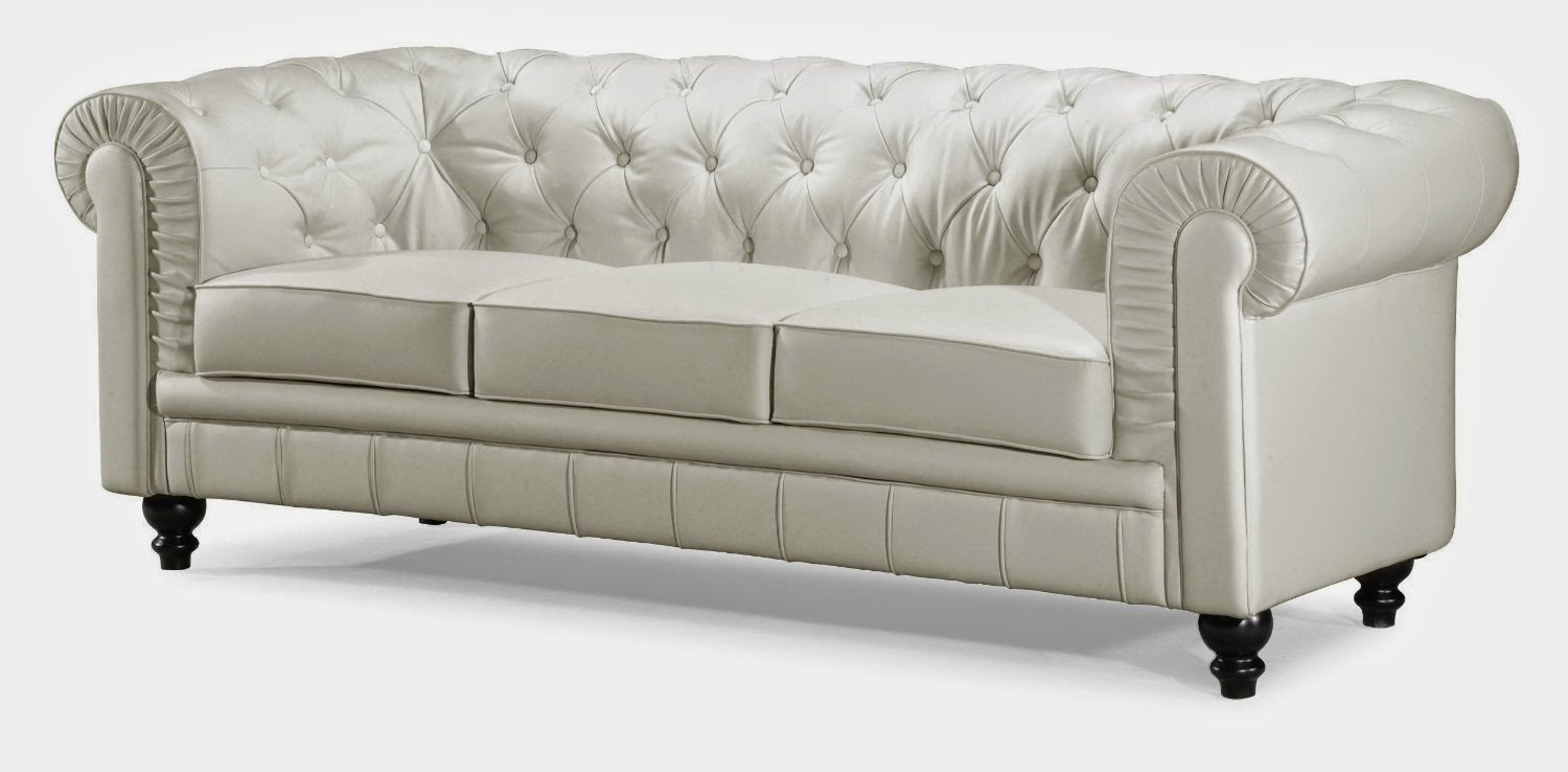 Tufted Couch ~ Cream Leather Tufted Sofa