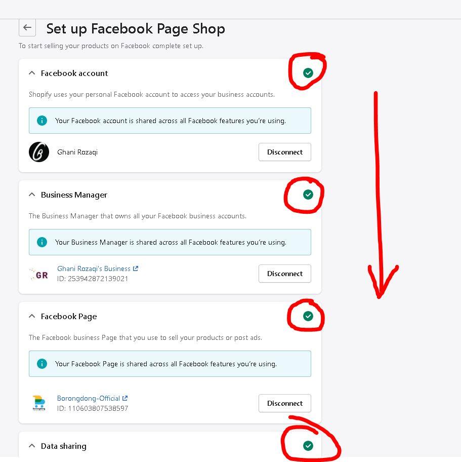 ikuti step yang diminta Shopify dan Facebook