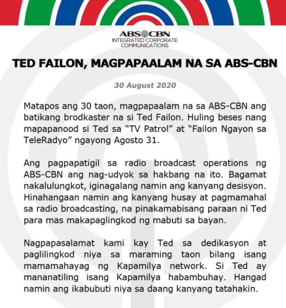 Ted Failon leaves ABS-CBN
