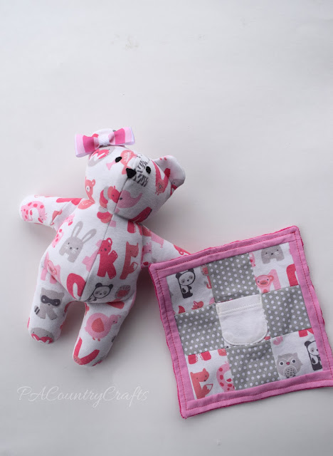 DIY memory bear with blanket made from baby clothes