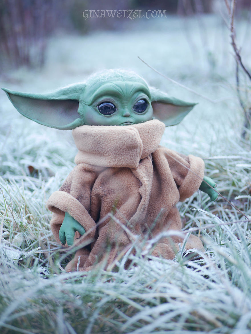 Woman Makes A Baby Yoda Doll Entirely From Materials That She Found At Home