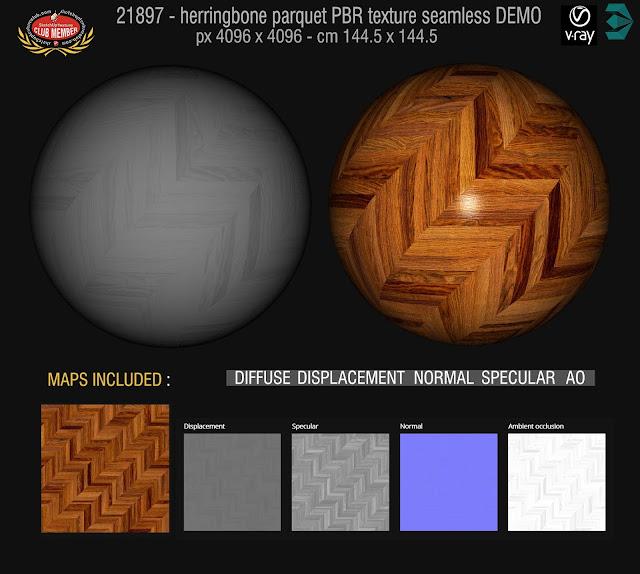 Herringbone parquet PBR texture seamless 21897