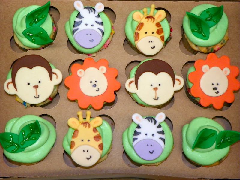 Plumeria Cake Studio Jungle Animal Cupcakes And Glitter Pops