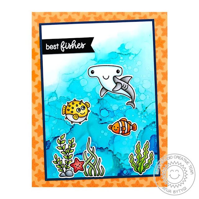 Sunny Studio Stamps: Best Fishes Magical Mermaids Oceans of Joy Best Wishes Punny Cards by Vanessa Menhorn and Anja Bytyqi