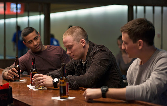 Miles Teller, Joe Cole, and Beulah Koale in Thank You for Your Service (2017)
