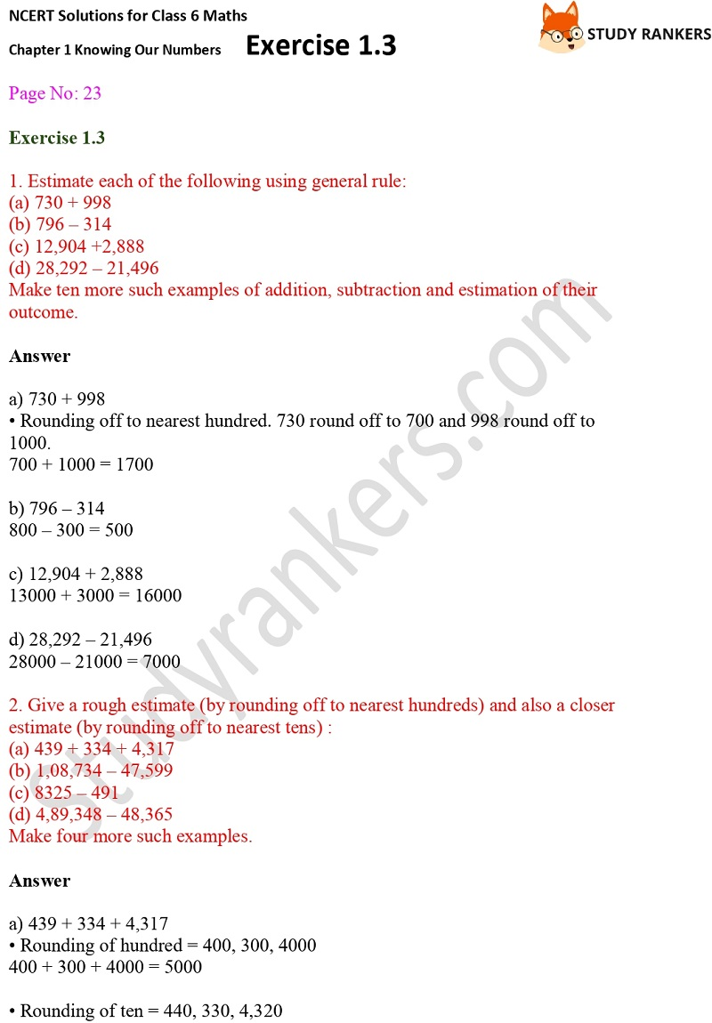 NCERT Solutions for Class 6 Maths Chapter 1 Knowing Our Numbers Exercise 1.3 Part 1