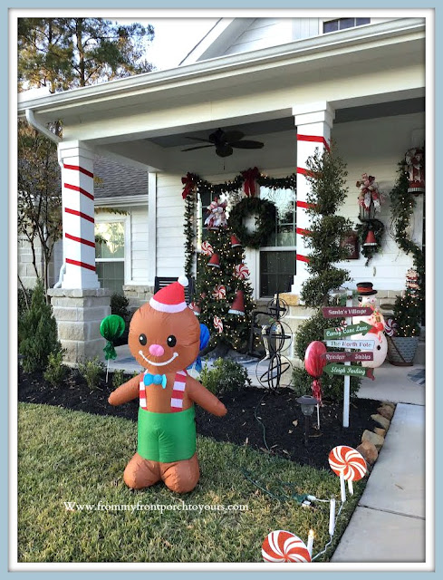 Cottage= Farmhouse -Christmas- Porch-Ribbon-Wrapped-Columns-Gingerbread-Boy -From My Front Porch To Yours