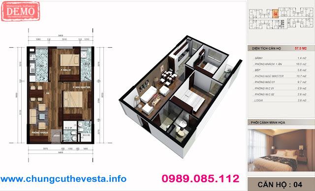 Thiết kế căn hộ 2PN diện tích 57m2