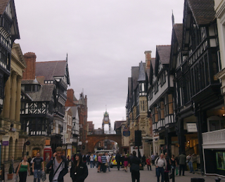 Chester's beamed tutor buildings - a main street in Chester - typical British and English places