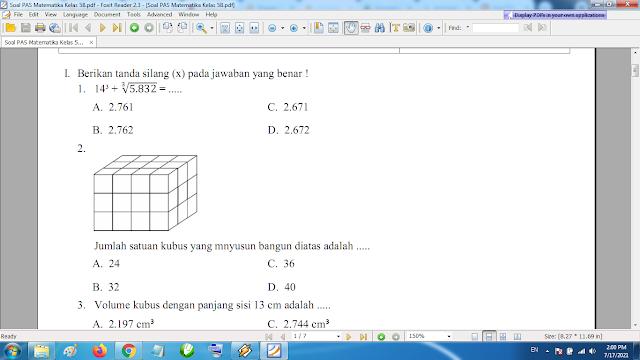 Download Soal PAS Matematika Kelas 5 SD MI Semester 2 Kurikulum 2013 Revisi Terbaru