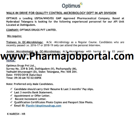 Optimus Drugs Pvt. Ltd. Walk In Drive For Quality Control, Microbiology, R&D At 19  May