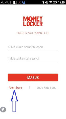 Membuat akun baru di Money Locker