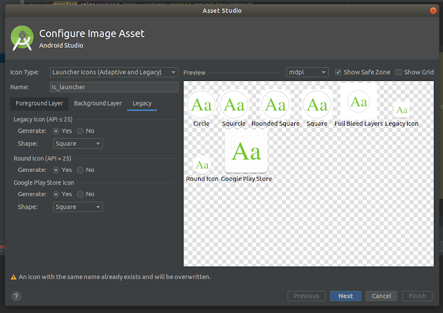 Android Studio - Text Legacy Tab