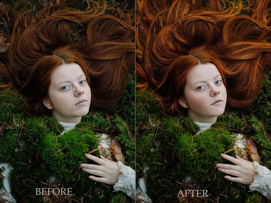 Girl with red hair lies down covered with green moss