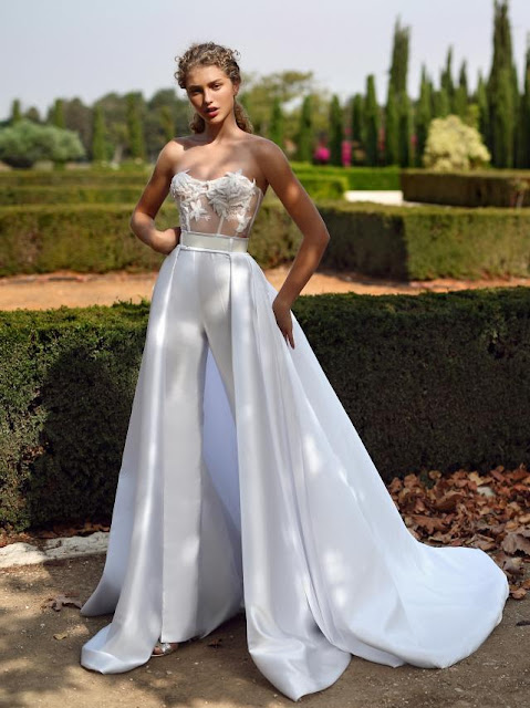 K'Mich Weddings - wedding planning - white tailored jumpsuit with skirt - g-211-galia-lahav-fall-2019