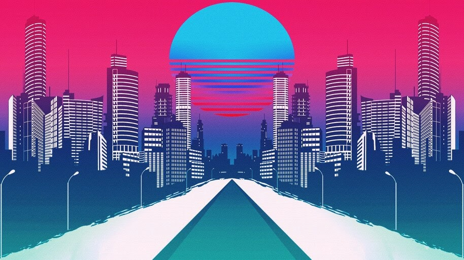 Minimalist, Neon, City, Landscape, Digital Art, 4K, #4.2037