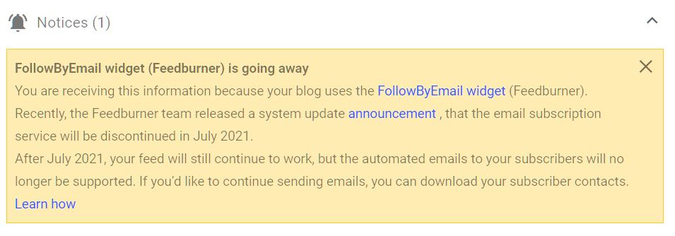 Goodbye follow by email gadget