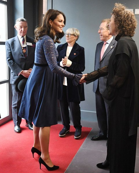 Kate Middleton wore Seraphine Marlene Maternity Cocktail Dress. Duchess is the Royal Patron of Place2Be