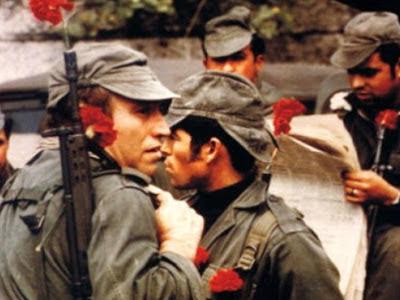 soldados militares com cravo vermelho no cano da arma