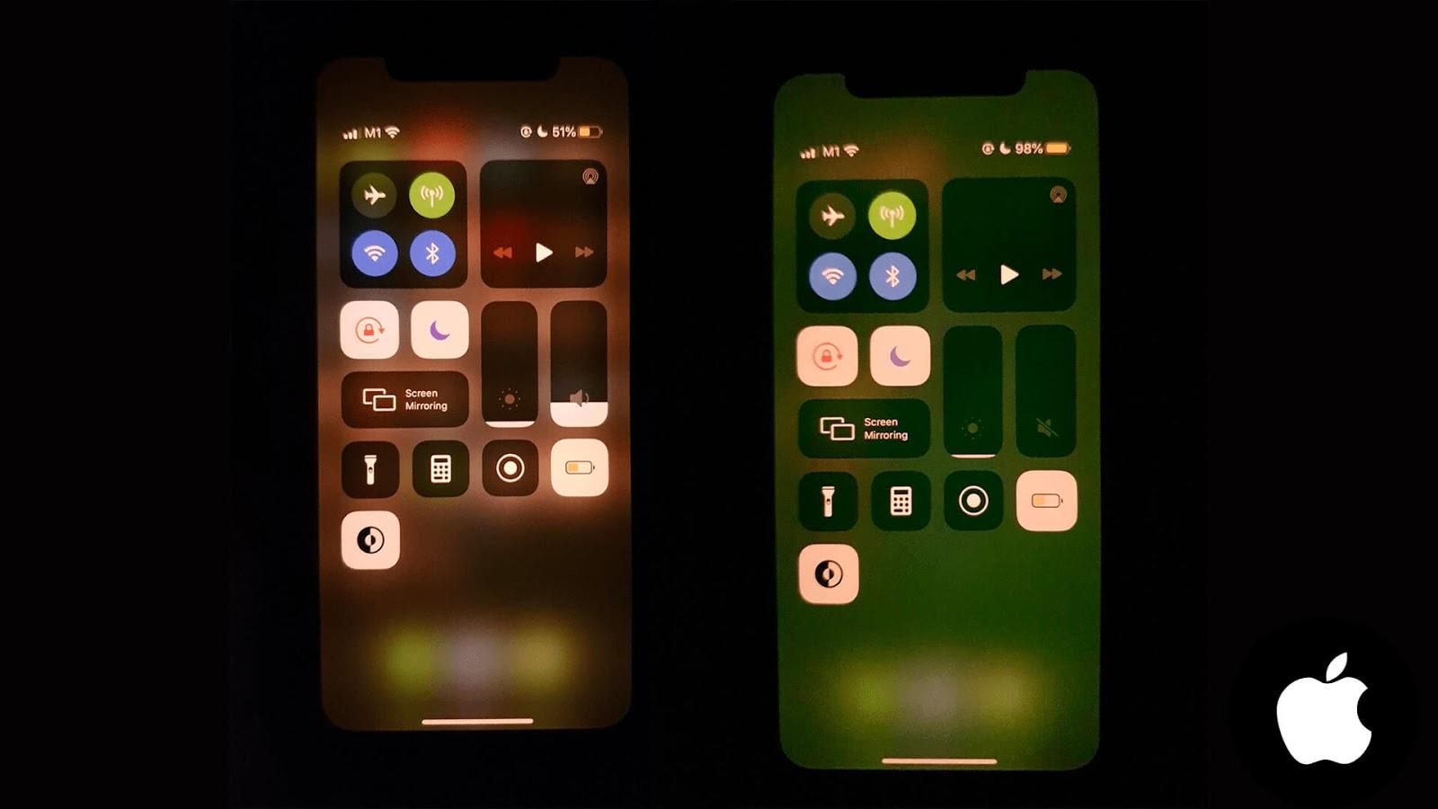 مشكلة ظهور اللون الاخضر بشكل عشوائي في IPHONE 11