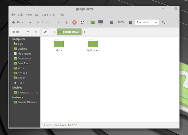 Google Drive mounted in Caja (default MATE file manager) using Gnome Online Accounts / Linux Mint 19 MATE