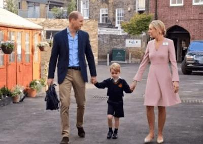 4岁的英国乔治小王子开始上学