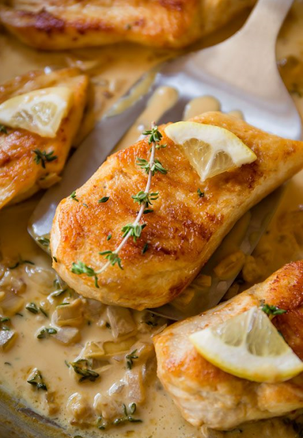 Skillet Chicken with Creamy Lemon Thyme Sauce