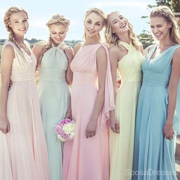 Mismatch pastel color bridesmaid dresses