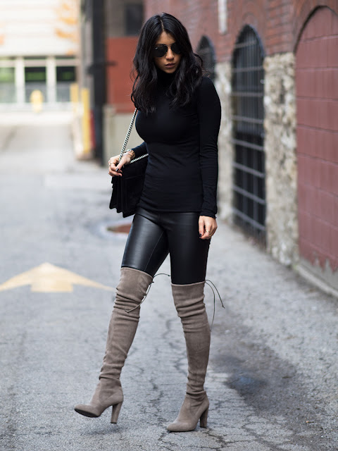 Leather pants and thigh high boots