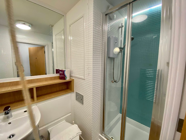The bathroom in the Butlin's self catering apartment with shower