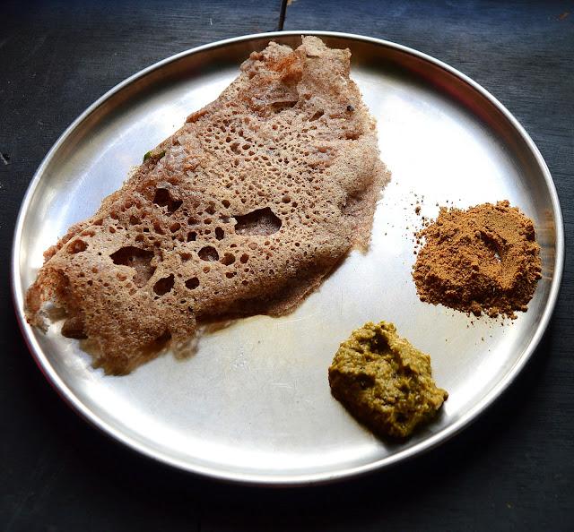 Instant Ragi Dosa | Instant finger millet flour savory crepes