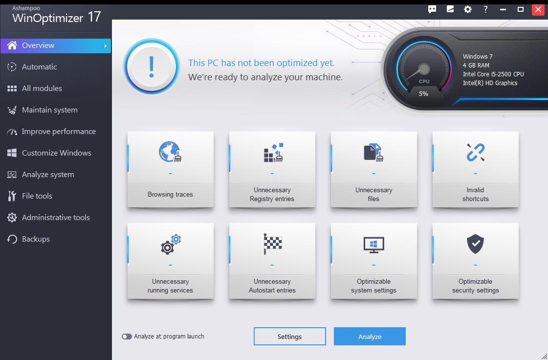 تحميل برنامج Ashampoo WinOptimizer 18.00.16 لإصلاح وتحسين النظام