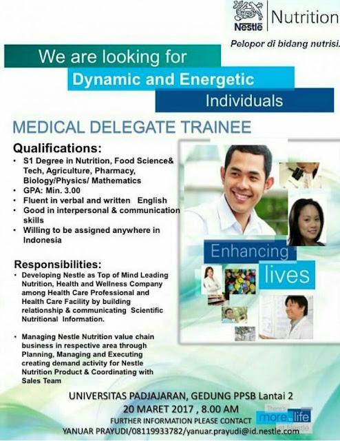 Lowongan Kerja Medical Delegate Trainee PT. Nestle Indonesia Maret 2017