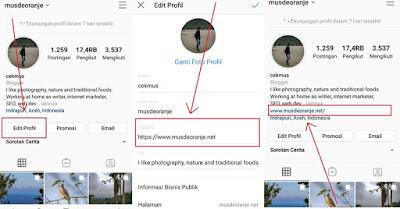 Cara memasukkan link di bio Instagram