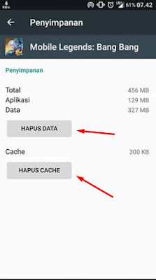 Hapus Data & Cache Mobile Legends