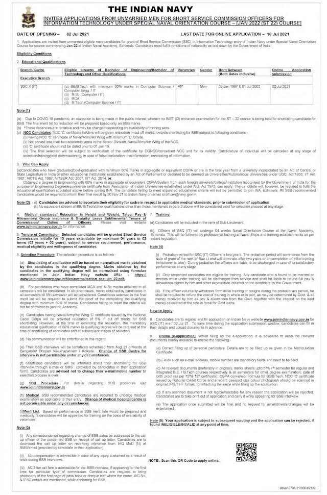 Indian Navy Recruitment 2021 SSC Officer (IT) – Jan 2022 – 45 Posts Last Date 16-07-2021