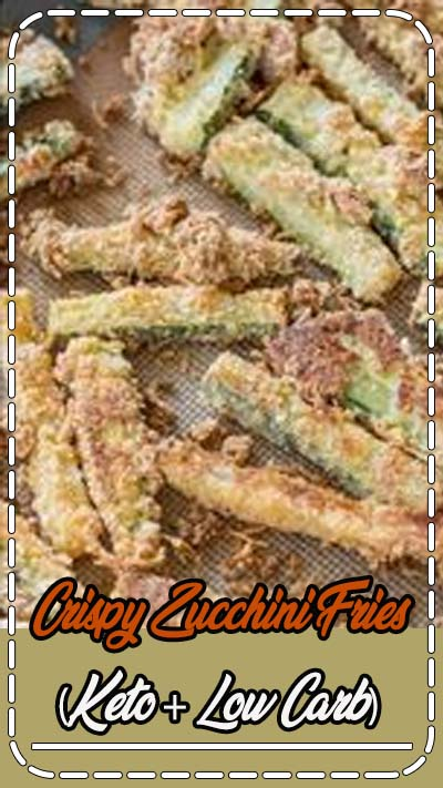 These Crispy Zucchini Fries are breaded with almond flour, parmesan and spices and baked until perfectly crispy! The perfect keto, low carb side dish! Only 3 net carbs! #keto
